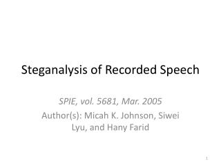 Steganalysis  of Recorded Speech