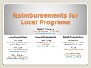 Reimbursements for Local Programs