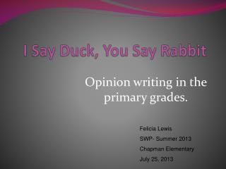 I Say Duck, You Say Rabbit