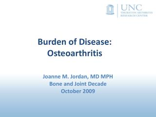 Burden of Disease: Osteoarthritis