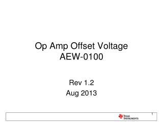 Op  Amp Offset  Voltage AEW-0100