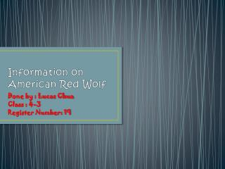Information on American Red Wolf
