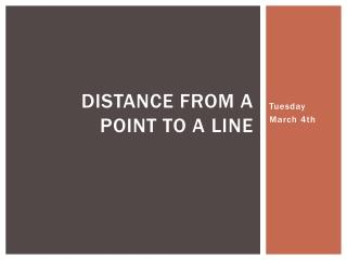 Distance from a  point to a line