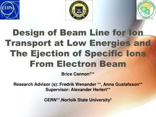 Brice Cannon † ** Research Advisor (s): Fredrik  Wenander  **, Anna  Gustafsson **