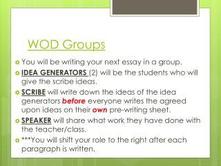 WOD Groups