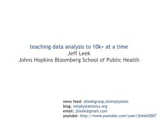teaching data analysis to 10k+ at a time Jeff Leek Johns Hopkins Bloomberg School of Public Health