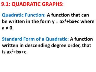 9.1: QUADRATIC GRAPHS:
