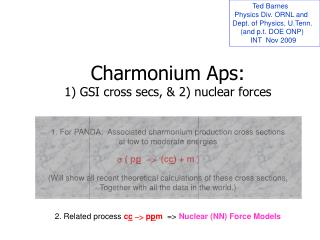 Charmonium  Aps : 1) GSI cross  secs , & 2) nuclear forces