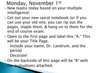 Monday,  November 1 st