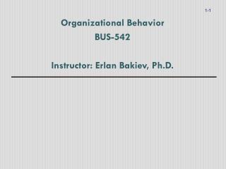 Organizational Behavior BUS-542 Instructor: Erlan Bakiev, Ph.D.