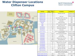 Water Dispenser Locations Clifton Campus