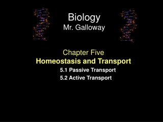 Chapter Five Homeostasis and Transport 5.1 Passive Transport 5.2 Active Transport