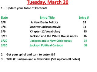 Tuesday ,  March  20