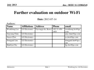 Further evaluation on outdoor Wi-Fi
