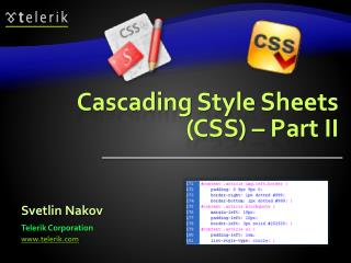 Cascading Style Sheets (CSS) – Part II