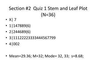 Section #2  Quiz 1 Stem and Leaf Plot (N=36)