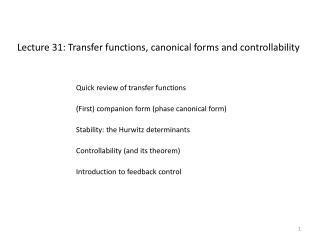 Lecture 31: Transfer functions, canonical forms and controllability