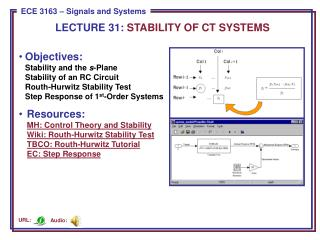 LECTURE  31:  STABILITY OF CT SYSTEMS