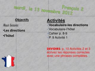 Français  2 mardi , le 13  novembre 2012