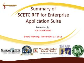 Summary of SCETC RFP for Enterprise Application Suite
