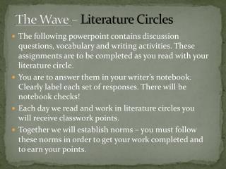 The Wave  –  Literature Circles