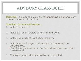 Advisory Class quilt