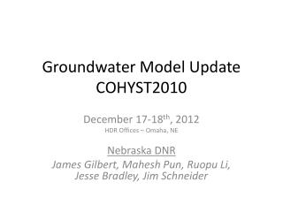 Groundwater Model Update COHYST2010