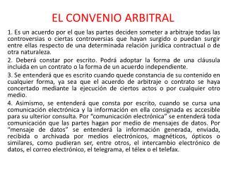 EL CONVENIO ARBITRAL