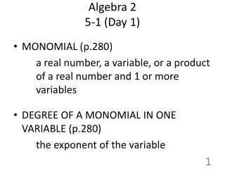 Algebra 2 5-1 (Day 1)