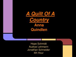 A Quilt Of A Country Anna  Quindlen