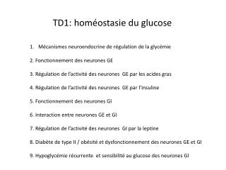 TD1: hom�ostasie du glucose