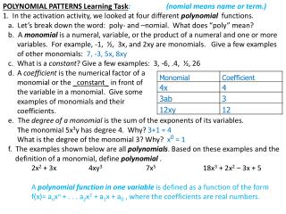 POLYNOMIAL PATTERNS Learning Task :                    (nomial means name or term.)