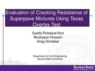 Department of  Civil  Engineering Kansas State University