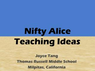 Nifty Alice  Teaching Ideas