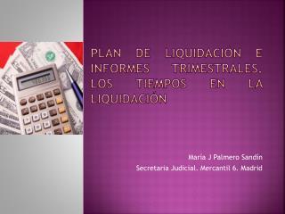 Plan de liquidación e informes trimestrales. Los tiempos en la liquidación