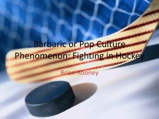 Barbaric or Pop Culture Phenomenon: Fighting in Hockey