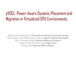 pVOCL: Power-Aware Dynamic Placement and Migration in Virtualized GPU Environments