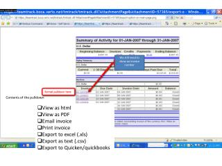 View as html View as PDF Email invoice Print invoice Export to excel (. xls )