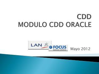 CDD MODULO CDD ORACLE