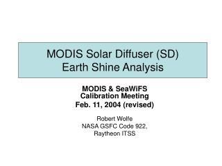 MODIS Solar Diffuser SD  Earth Shine Analysis
