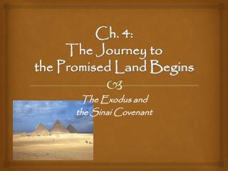 Ch. 4:  The Journey to  the Promised Land Begins