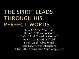 The Spirit leads through His  Perfect Words