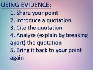 USING EVIDENCE: 	1. Share your point 	2. Introduce a quotation 	3. Cite the quotation