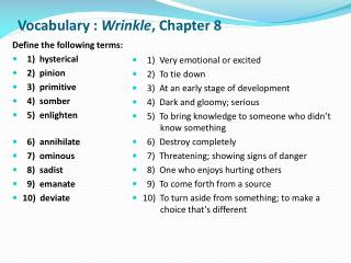 Vocabulary :  Wrinkle ,  Chapter 8