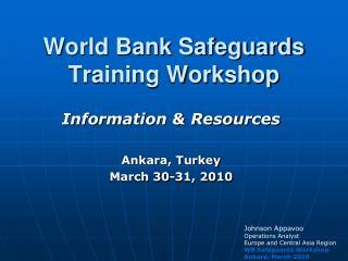 World Bank Safeguards Training Workshop