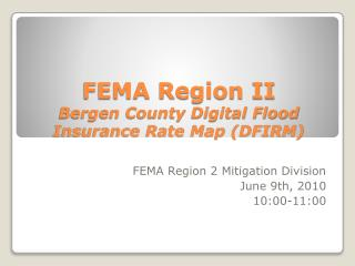 FEMA Region II Bergen County Digital Flood Insurance Rate Map (DFIRM)