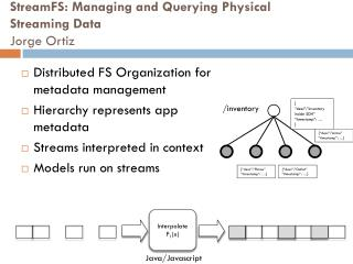 StreamFS : Managing and Querying Physical  Streaming Data Jorge Ortiz