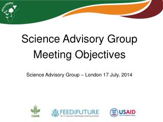 Science Advisory Group Meeting Objectives