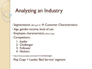 Analyzing an Industry