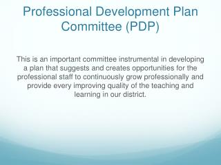 Professional Development Plan Committee (PDP)